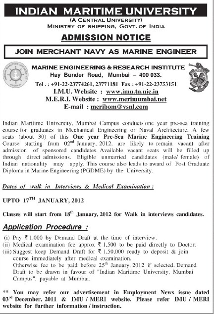 Pre sea marine engg training course (Indian Maritime University)