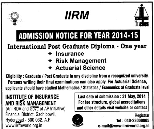 institute of insurance and risk management iirm hyderabad telangana post graduate diploma in insurance and risk management