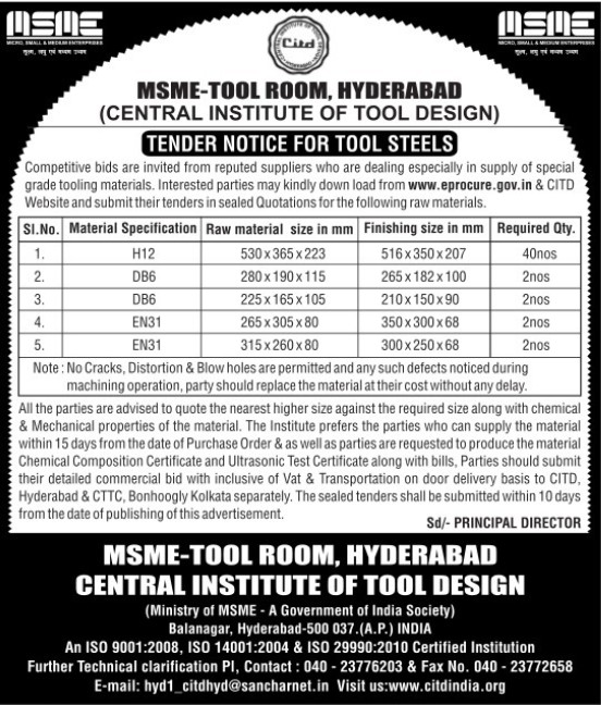 Supply of raw materials (Central Institute of Tool Design (CITD))