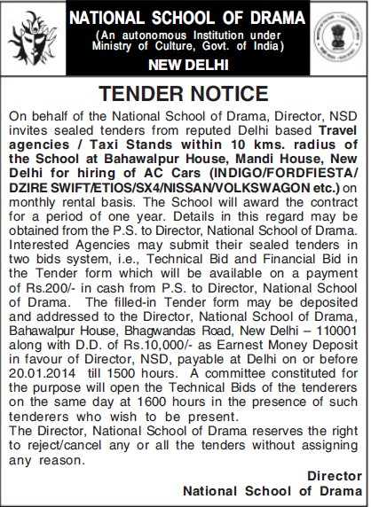 Tender for Travel Agencies (National School of Drama)