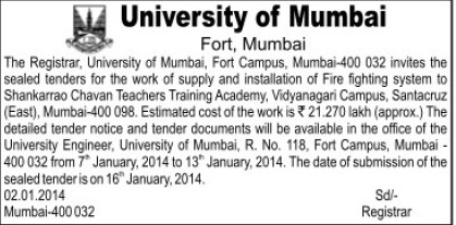 Supply of fighting system (University of Mumbai)