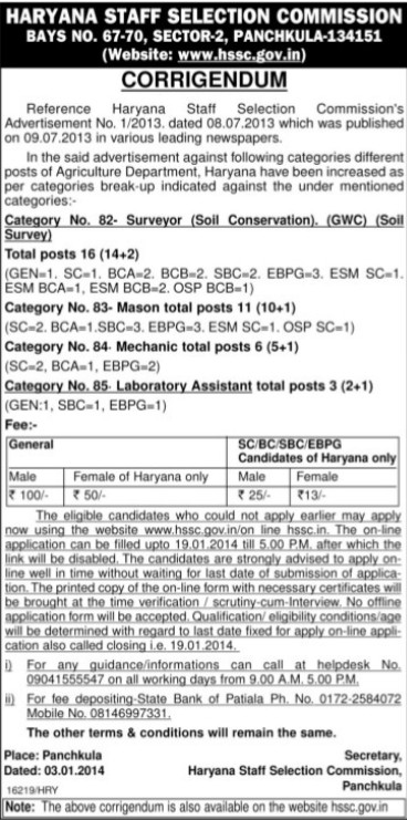 Surveyor and Laboratory Asstt (Haryana Staff Selection Commission (HSSC))