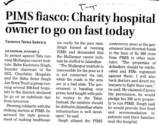 Charity Hospital owner to go on fast today (Punjab Institute of Medical Sciences (PIMS))