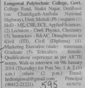 HoD, Lecturer and Instructors (Longowal College of Pharmacy and Polytechnic)