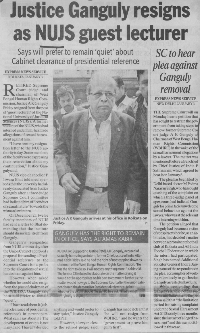 Justice Ganguly resigns as NUJS guest lectuer (West Bengal National University of Juridical Sciences)