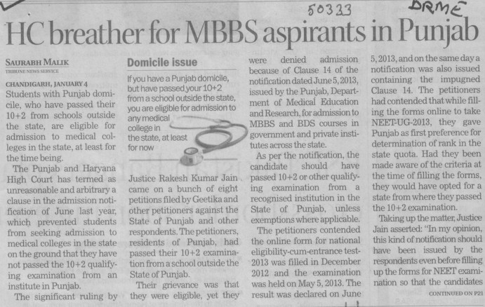 HC breather for MBBS aspirants in Punjab (Director Research and Medical Education DRME Punjab)