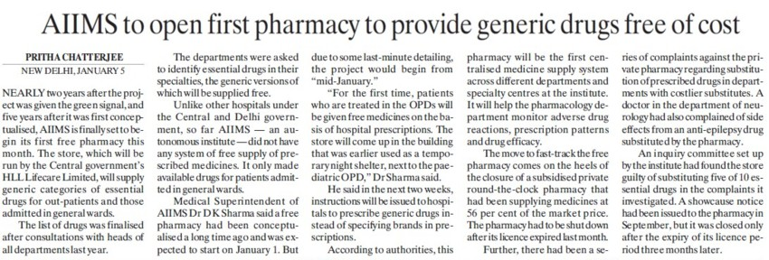 AIIMS to open first Pharmacy to provide generic drugs free of cost (All India Institute of Medical Sciences (AIIMS))