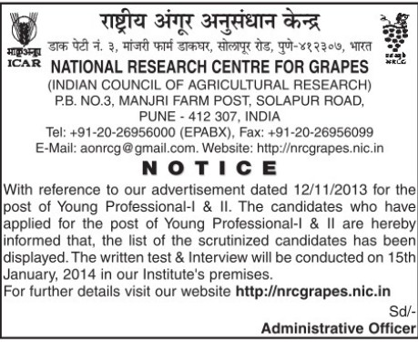 Young Professional (National Research Centre for Grapes (NRCG))