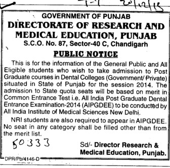 Graduate Courses in Dental Colleges (Director Research and Medical Education DRME Punjab)
