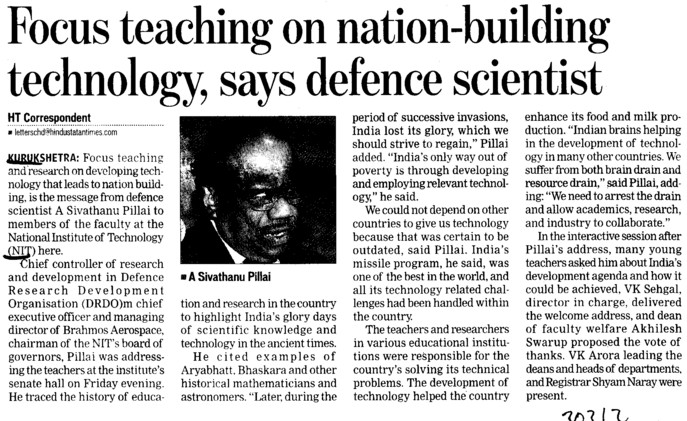 Focus teaching on nation building tech, says defence scientist (National Institute of Technology (NIT))
