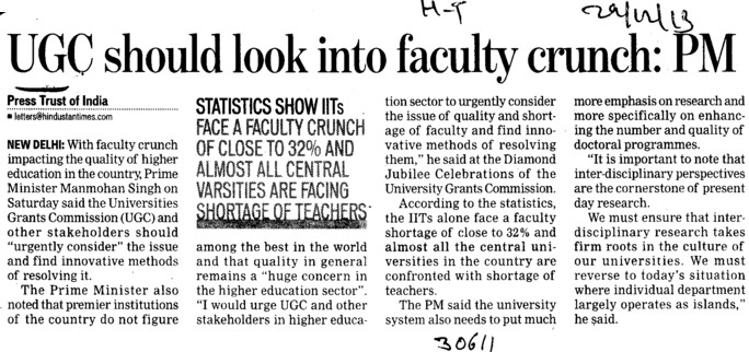 UGC should look into faculty crunch, PM (University Grants Commission (UGC))