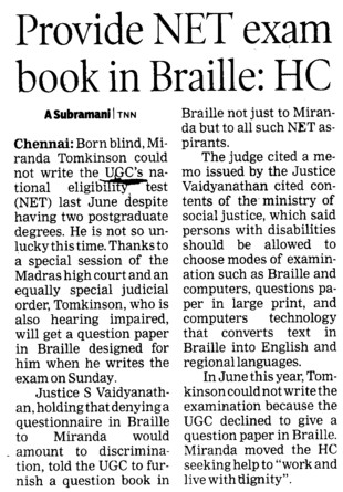 Provide NET exam book in Braille, HC (University Grants Commission (UGC))