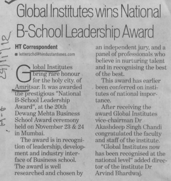 Global Institutes wins National b School Leadership Award (Global Institutes Group)