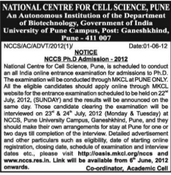 PhD Programme (National Centre for Cell Sciences)