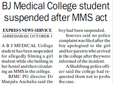 Student suspended after MMS act (BJ Medical College)