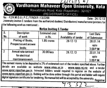 Printing of books (VARDHAMAN MAHAVEER OPEN UNIVERSITY, Regional Study Centre)