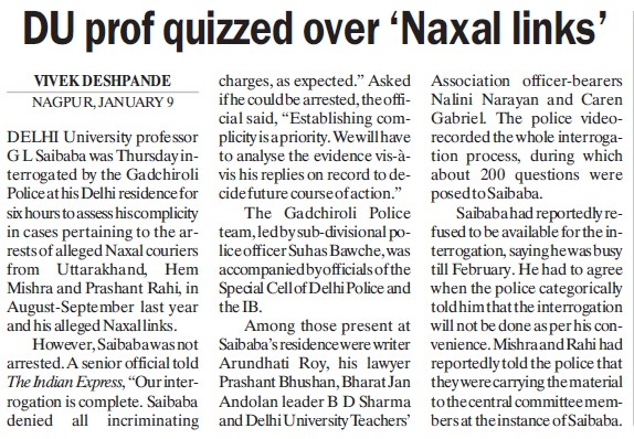 DU prof quizzed over Naxal links (Delhi University)