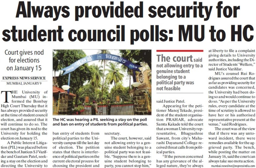 Provide security for student council polls, MU to HC (University of Mumbai)