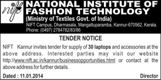 Supply of Laptop accessories (National Institute of Fashion Technology (NIFT), Kannur)