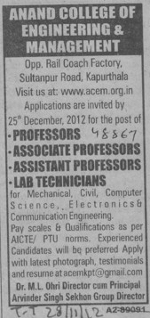 Asstt Professor and Lab Tech (Anand College of Engineering and Management)