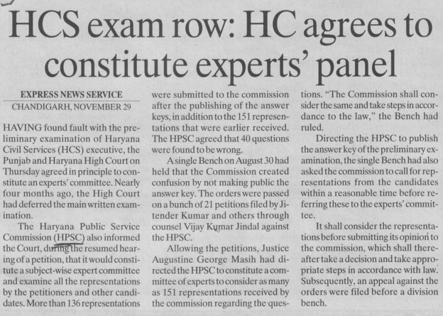 HC agrees to constitute experts panel (Haryana Public Service Commission (HPSC))