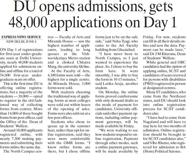 DU opens admissions, gets 48000 applications on Day 1 (Delhi University)