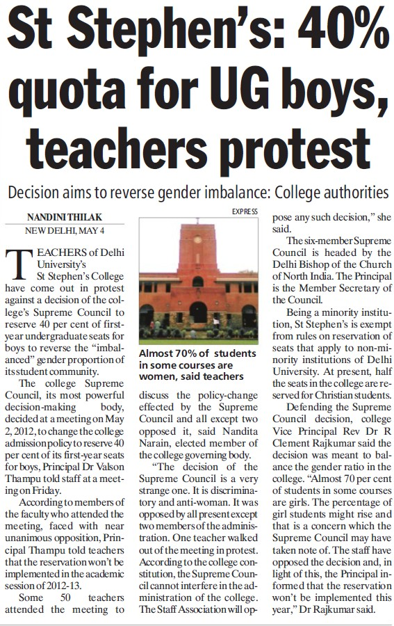 40 percent quota for UG boys, teachers protest (Delhi University)