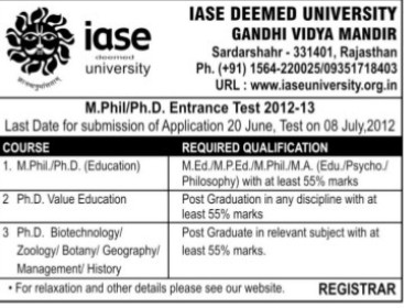 M Phil and PhD (IASE Deemed University)
