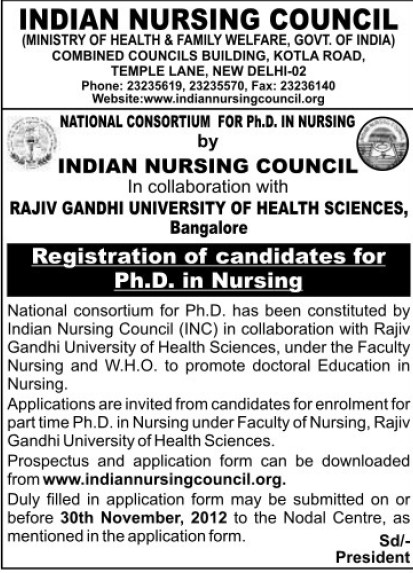 Registration of Candidates for PhD in Nursing (Indian Nursing Council (INC))