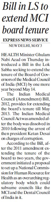 Bill in LS to extend MCI board tenure (Medical Council of India (MCI))