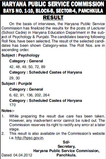 Result of Lecturer posts (Haryana Public Service Commission (HPSC))