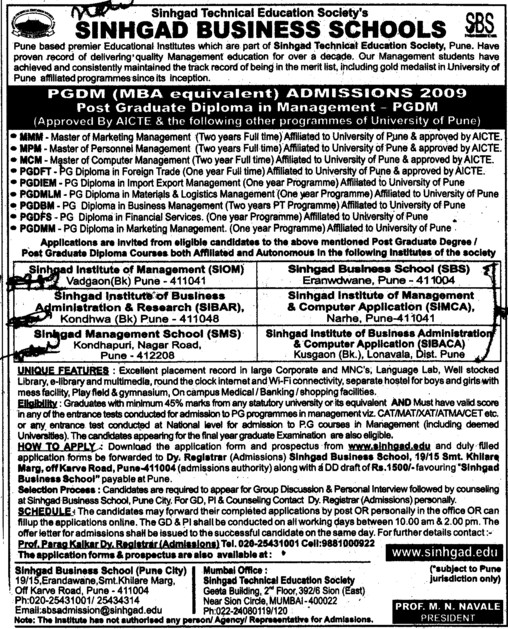 Post Graduate Diploma in Management (RM Dhariwal Sinhgad Management School SMS)