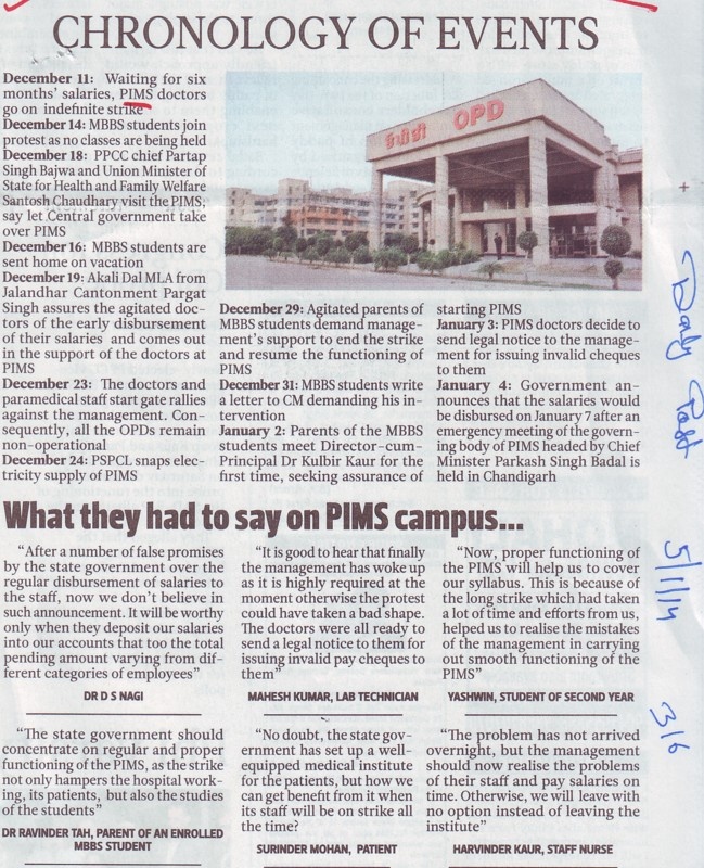 Chronology of events (Punjab Institute of Medical Sciences (PIMS))