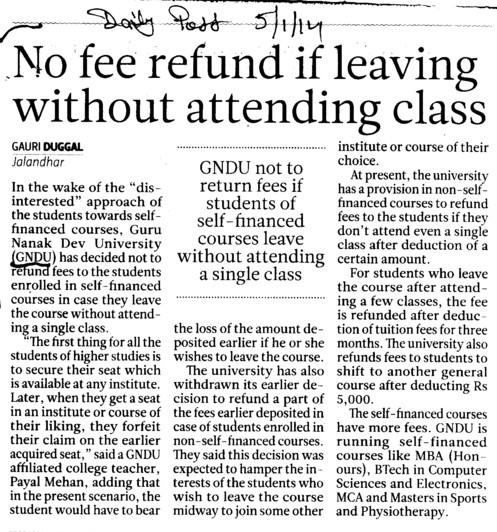 No fee refund if leaving without attending class (Guru Nanak Dev University (GNDU))