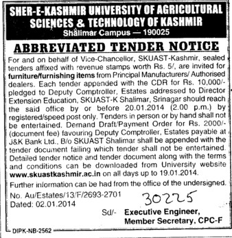 Supply of Furniture items (Sher-e-Kashmir University of Agricultural Sciences and Technology of Kashmir)