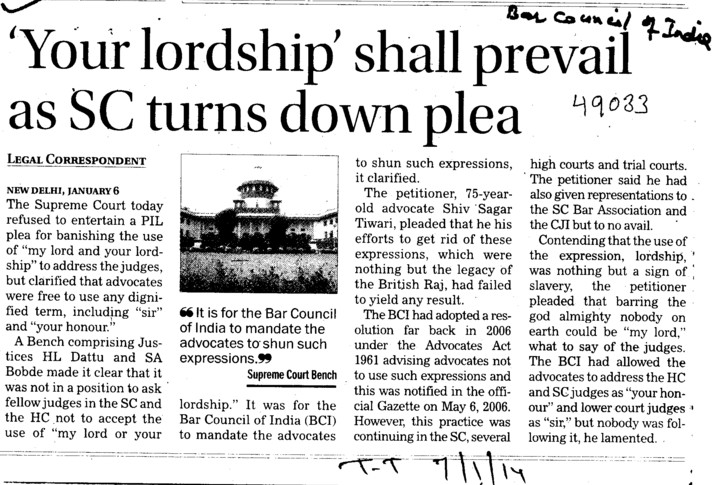 Your lordship shall prevail as SC turns down plea (Bar Council of India (BCI))