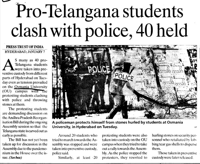 Pro Telangana students clash with police, 40 held (Osmania University)