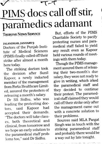 PIMS docs call off stir, paramedics adamant (Punjab Institute of Medical Sciences (PIMS))