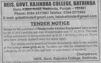 Purchase of Readymade Kitchen equipments (Government Rajindra College)