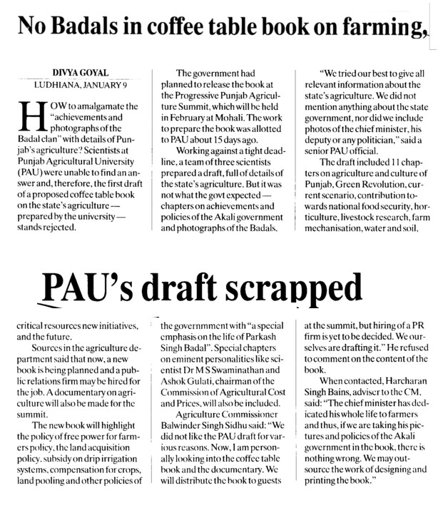 No Badal in Coffee table book on farming, PAUs draft scrapped (Punjab Agricultural University PAU)