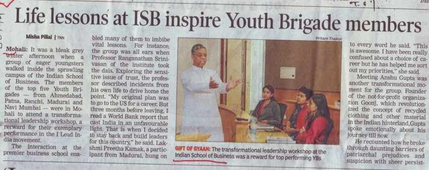 Life lessons at ISB inspire Youth Brigade members (Indian School of Business Chandigarh Mohali Campus)