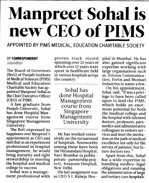 Manpreet Sohal is new CEO of PIMS (Punjab Institute of Medical Sciences (PIMS))