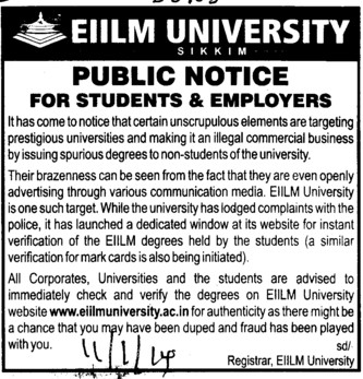 Public Notice for Students and Employers (EIILM University)