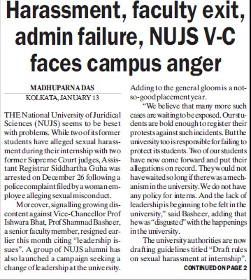 Harassment, Faculty exit, admin failure, NUJS VC faces campus anger (West Bengal National University of Juridical Sciences)