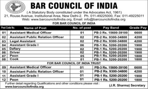 Asstt Medical Officer and Legal Assistant (Bar Council of India (BCI))