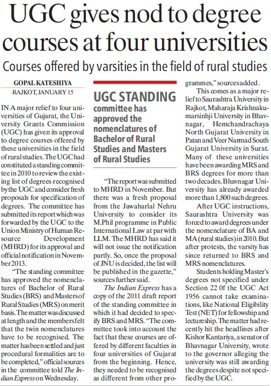 UGC gives nod to degree courses at four Universities (University Grants Commission (UGC))