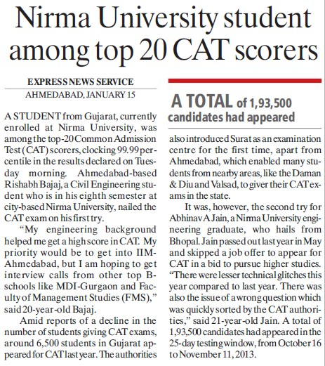 NU student among top 20 CAT scores (Nirma University)