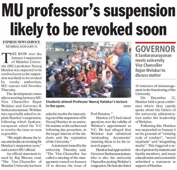 MU Professors suspension likely to be revoked soon (University of Mumbai)