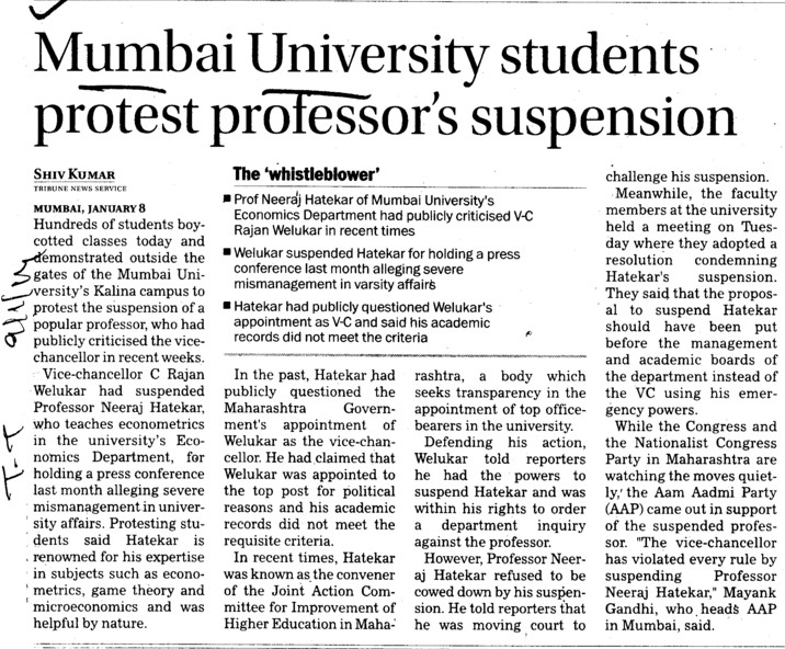 MU students protest professors suspension (University of Mumbai)