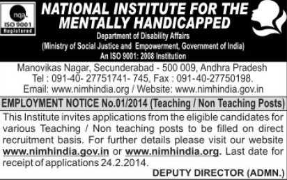Teaching and Non teaching posts (National Institute for the Mentally Handicapped (NIMH))
